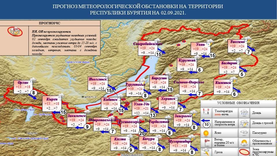 Прогноз возможных ЧС на 02.09.2021 - Оперативная информация - Главное управление МЧС России по Республике Бурятия